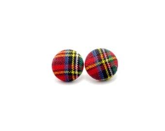 Tartan plaid fabric button earrings - plaid earrings - plaid button earrings - plaid fabric earrings - plaid studs - tartan plaid studs
