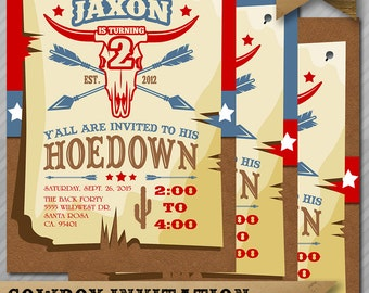 Cowboy Invitation - Hoedown Invitation - Cowboy Birthday Invite - Western Invitation - Cowboy - Hoedown