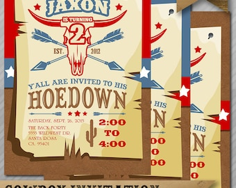 Cowboy Invitation - Hoedown Invitation - Cowboy Birthday Invite - Western Invitation - Cowboy - Hoedown