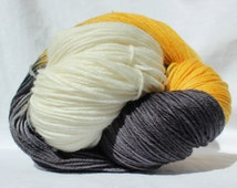 RTS Hand dyed yarn, yellow / gray / cream, variegated yarn, superwash merino wool, worsted weight, 100g