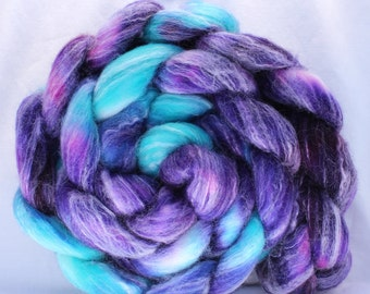 Hand dyed roving, turquoise / purple / pink roving, superwash merino wool / bamboo / nylon, spinning fiber, spinning fibre, commercial top