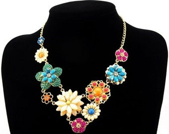 Resin Flower Statement Necklace - Spring Statement Necklace - Bright  Colors Flower Necklace