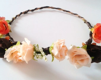 Flower Crown, Head Piece, Chocolate, Brown, Tan, Races, Melbourne Cup, Bridal,Bride,Bridesmaid,Flower Girl, Floral,Festival Accessories