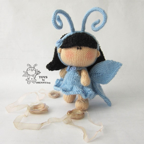 Knitting Pattern Butterfly Toy : Pebble doll Butterfly knitting pattern knitted round.