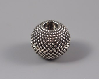 Small Dots Sphere Magnetic Clasp, Antique Silver, 5mm ID, Glue-in Clasp for Kumihimo and Leather