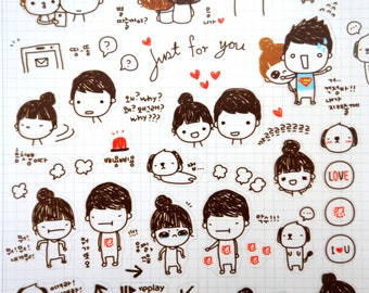 Cute couple stickers - Korean stickers - kawaii stickers - relationship stickers - romance stickers - love stickers - boyfriend girlfriend