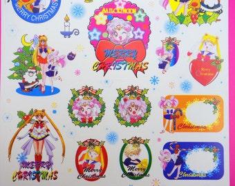 Rare VINTAGE special Christmas edition Sailor Moon S stickers - Venus, Jupiter, Mars, Mercury, Uranus, Neptune, Saturn  - Super Chibiusa