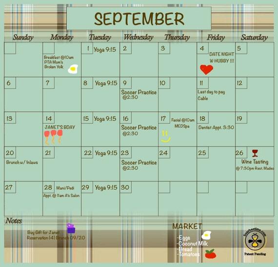 Dry Erase Calendar Magnetic : Planner dry erase calendar magnetic refrigerator
