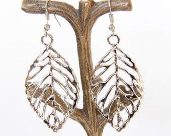 Silver Leaf Earrings, Leaf Earrings, Earrings, Simple Earrings, Filigree Leaves, Boho, Boho Earrings, Autumn, Autumn Earrings, Leaf, Ear