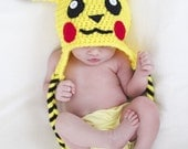 Pikachu Crochet Beanie - hat for babies and kids  - baby, birthday, valentine's day, Christmas, halloween