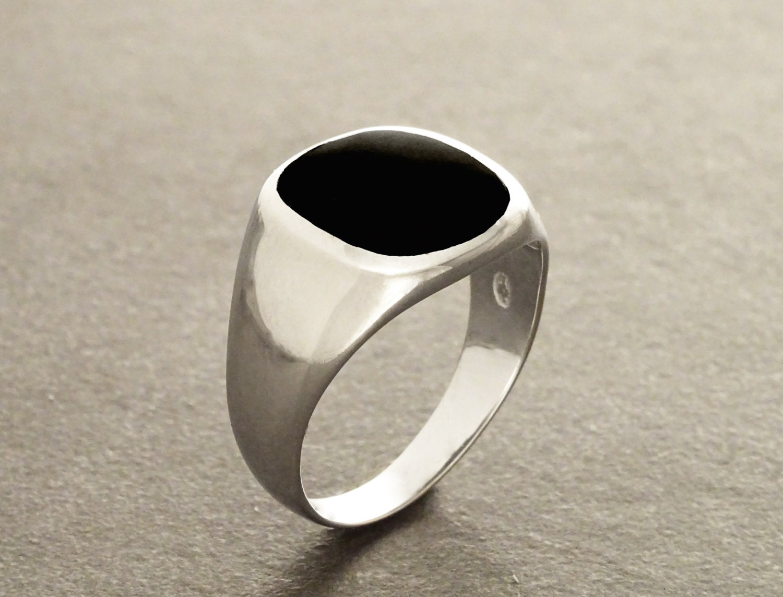Hipster Ring Black Onyx Ring Silver 925 Modern Men by KRAMIKE  Onyx