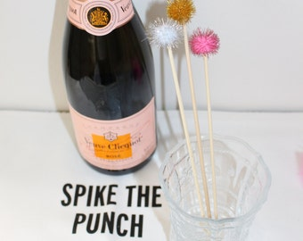 Set of 12 Sparkly Pom Pom Drink Stirrers / Swizzle Sticks / Stir Sticks for Wedding, Shower, or Party! Many colors available