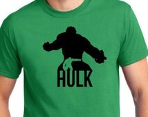 Avengers Incredible Hulk inspired Green Cotton T-Shirt with Logo on right arm featuring artwork by Kurtis Charters.