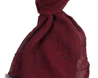 Pure linen scarf, dark red, 100 % linen scarf, deep red scarf, summer scarf, summer shawl, women scarf, linen shawl, linen wrap, red wrap