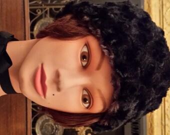 Ear Warmer - Black-Chocolate Brown Head-Ear & Neck Warmer, Reversible, faux fur
