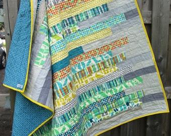 Custom handmade modern quilt - crib quilt - lap quilt - twin bed quilt - queen quilt - king size quilt