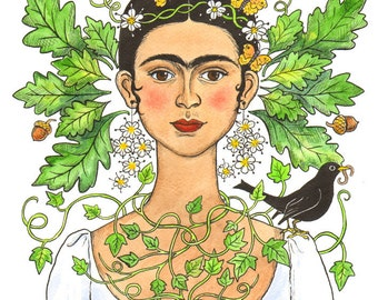"Signed A4 Limited Edition Giclee Print ""Green Frida"" for those who love Frida Kahlo in spring time! By Laura Robertson"