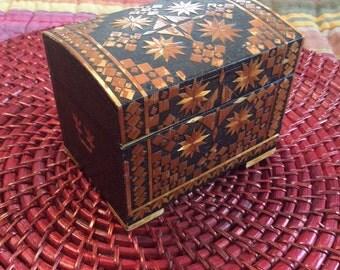 Vintage Thailand Woven Grass Trinket Treasure Box