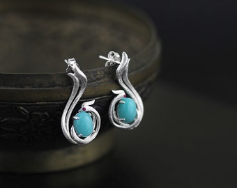 Phoenix Shape Earring Amazonite Earring Sterling Silver Earring Women Earring Gift For Her