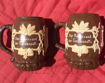 SALE 20% 2 Villeroy & Boch Mettlach Steins (no lid) / Mug / Germany / Collectible