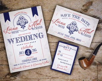 Wedding Invitation Set, Vintage Americana, Patriotic; 4th of July, fireworks, red white and blue, PDF Downloadable Custom