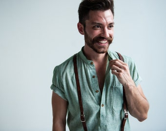 Short Sleeve Button-down Shirt - Kotwali Men's Popover / XS - 4XL / FINAL SALE