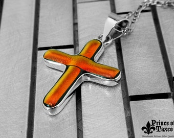 Taxco .925 DICROIC glass and STERLING silver pendant CROSS. 100% handmade. Free shipping. Model# OMADI_033