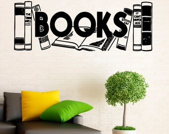 Wall Vinyl Decal Books Stickers Reading Room Library Interior Housewares Design Bedroom Home Decor (11bcs01)