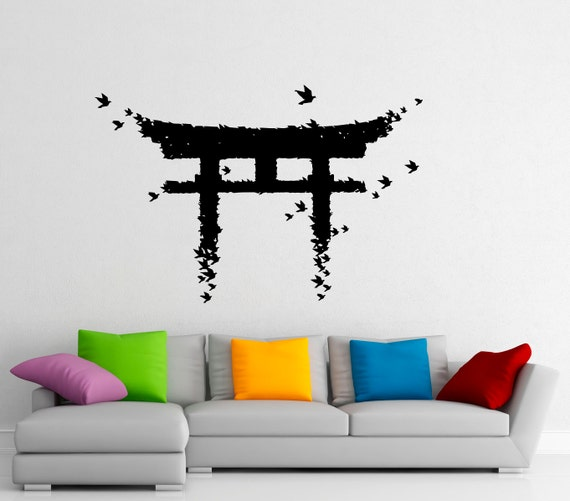 Torii japanese gate wall sticker vinyl decal japanese culture for Asian wall mural