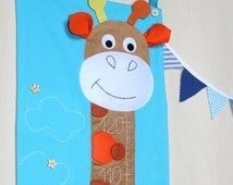 Height Chart, Fabric Growth Chart,  Nursery Wall Decor, Giraffe , Orange and Blue,  Toddler room's decoration