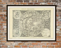 Old Vintage Antique Map The Arctic Circle, North Pole, from 1610. Asia, Europe America etc.  Vintage Map Print Drawing Art Item 0145