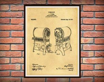 Patent 1913 Coffee Roaster - Wall Art Print - Kitchen Art- Poster - Restaurant Wall Art - Housewares - Coffee Shop Wall Art