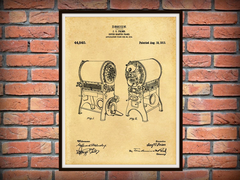 Patent 1913 Coffee Roaster Wall Art Print Kitchen Art