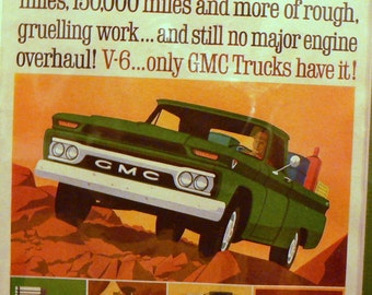 1964 GMC Truck Ad Matted Vintage Print