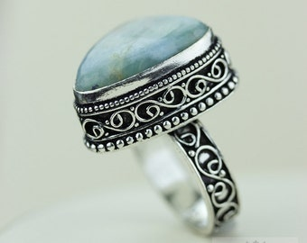 Size 8 - Genuine Larimar 925 S0LID (Nickel Free) Sterling Silver Vintage Setting Ring & FREE Worldwide Express Shipping R1732