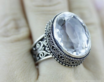 SIZE 7.5 Crystal Quartz 925 S0LID (Nickel Free) Sterling Silver Vintage Setting Ring & FREE Worldwide Express Shipping r1756