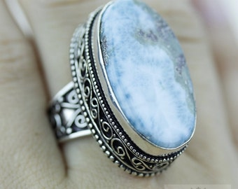 SIZE 7.5 Caribbean Larimar 925 S0LID (Nickel Free) Sterling Silver Vintage Setting Ring & FREE Worldwide Express Shipping r1759