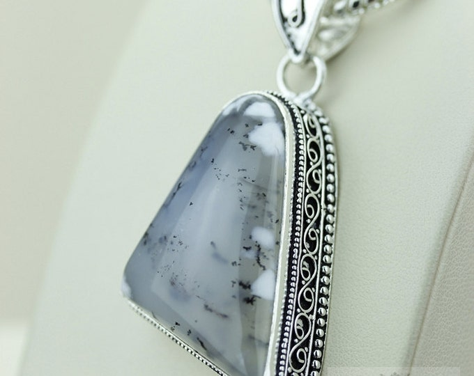 DENDRITIC AGATE Opal 925 S0LID Sterling Silver Vintage Style Setting Pendant + 4mm Snake Chain & Free Worldwide Shipping p2571