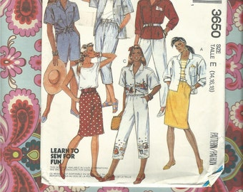 Vintage McCalls 3650 Misses Skirt, Top, Pants, and Skirt Pattern Size E 14,15,16 Complete & Uncut