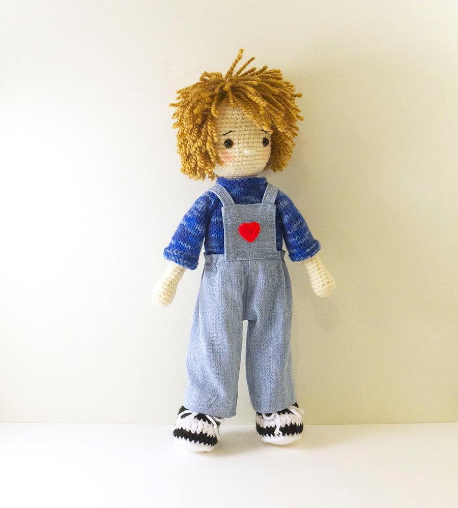 Amigurumi Doll Boy : Amigurumi crochet doll Cheeky boy doll with denim overalls