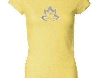 Yoga Clothing For You Ladies Shirt Grey Namaste Lotus Longer Length Tee T-Shirt = 8101-GNLOTUS