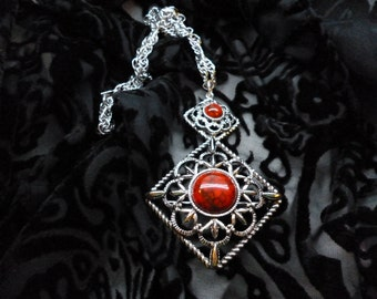 Sarah Coventry REd adn Silver tone pendant and brooch necklace
