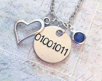 Binary Code Initial and Birthstone Customized Necklace - Binary Code Necklace - Science Jewelry - Geek Jewelry - Computer Language