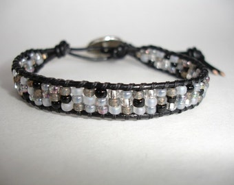 SALE - Black Leather Single Wrap Beaded Bracelet - Miyuki Granite Mix Seed Beads - Button - FREE SHIPPING - Gift For Her