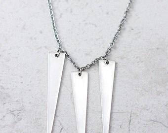 Triple Spike Necklace / Spikes / Minimalist Statement Necklace