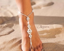 Wedding barefoot sandals, Bridal barefoot sandals, Foot jewelry, Wedding sandals, Footless sandals, Slave anklet, Wedding Accessories, Pearl