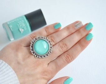 Glass dome ring, Mint ring, Turquoise ring, Mint glass dome ring, Mint statement ring, Turquoise statement ring, Turquoise glass dome ring