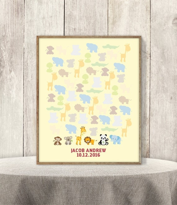 Items similar to Jungle Baby Shower Guest Book Alternative ...