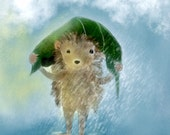 Art Print Hedgehog,Child Room Picture,rain,covering head with leaf,nursery room,baby hedgehog,smiling,