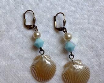 SOLDVintage Pearl shell  earrings